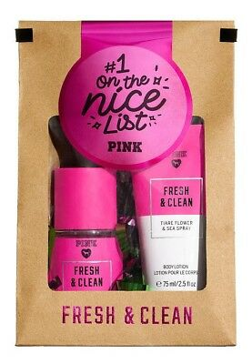 VICTORIAS SECRET PINK FRESH & CLEAN GIFT SET Fragrance Mist Lotion 2 Piece Set