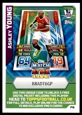 Match Attax 2015/16 EXTRA Ashley Young Manchester United Match Attax Live P16