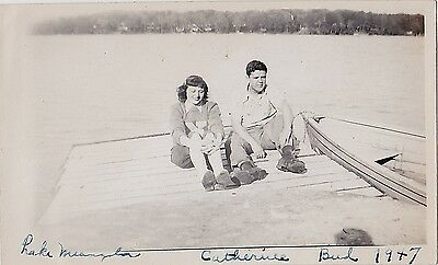 Old Vintage Antique Photograph Young Man & Woman Sitting on Dock By Water 1947