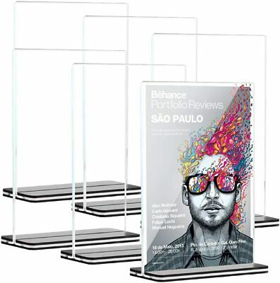 """6pcs 5""""x7"""" Clear Acrylic Double-Sided Table Display Sign Holder Show Exhibition"""