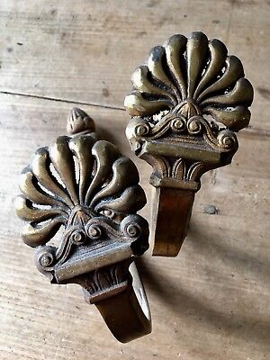 Antique Curtain Tie Backs French Solid Brass Gilt Rococo Reclaimed Old Salvage