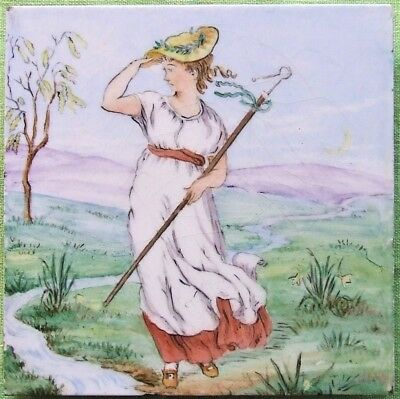 Minton Tile Walter Crane Bo Peep Hand Decorated Nursery Rhyme Baby's Opera