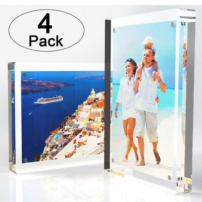 4-Pack | Clear Acrylic Double-Sided Landscape/Portrait Magnetic Block Frame 5x7″