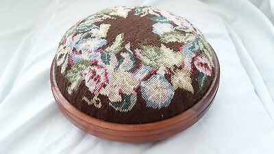 Vintage Old Wooden Foot Stool Tapestry/Needlepoint Floral Round Kneeling Seat