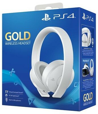 Cuffie Gold Wireless Bianca Sony Playstation 4 2.0 Stereo Gioco Headset Ps4
