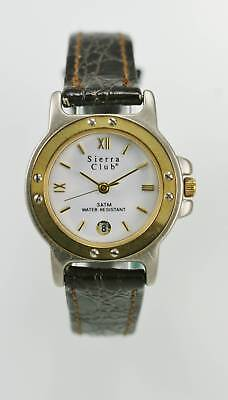 Sierra Club Women's Two Tone Brown Leather Band Water Resistant Quartz Watch