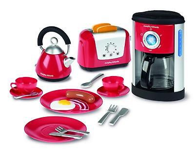 Morphy Richards Toy Kitchen Play Set Kettle Toaster Coffee Maker Crockery & Food