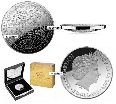 Australia: 2019 $5 A Map of the World/ Voyages of Capt Cook Domed Silver Proof