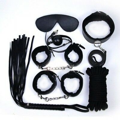 Kit Bondage in Ecopelle Nera Set Manette Corda benda Collare Frusta e Ball Gag