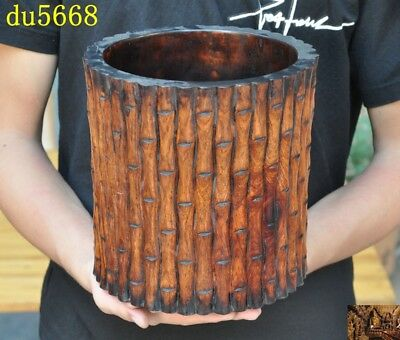 China Huanghuali Old Wood carved Ancient Calligraphy tool brush pot pencil vase