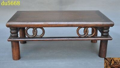 Collect Old Chinese Huanghuali wood hand-carved Ancient coffee table desk statue