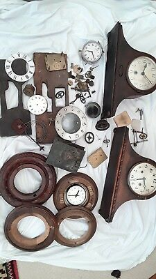 Job Lot of  Vintage CLOCK Parts & Cases Mantle and long case spares steampunk