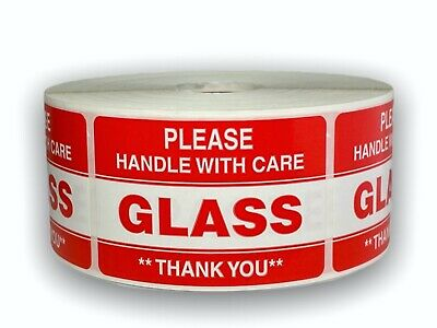 1000 Labels 2x3 Please GLASS Handle with Care Shipping Mailing Warning Stickers