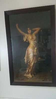 Antique large dancing gypsy woman in solid oak frame print