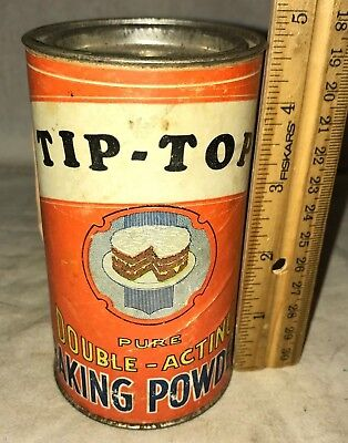 Antique Tip Top Baking Powder Tin Vintage Country Grocery Store Can Cake Graphic