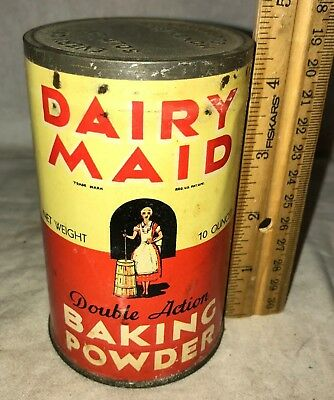 Antique Unopened Dairy Maid Baking Powder Tin Cincinnati Oh Can Butter Churn Old