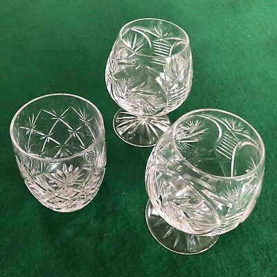 2 Fine Quality Crystal Brandy / Spirit Glasses 1 Crystal Whisky Tumbler