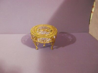 dollhouse miniature scale metal gold mirrored scrolled side table