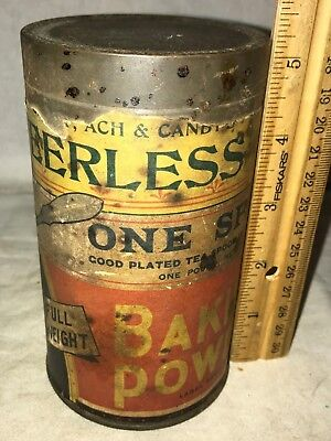 Antique Peerless One Spoon Baking Powder Tin Vintage Wm Scull Can Dayton Oh Old