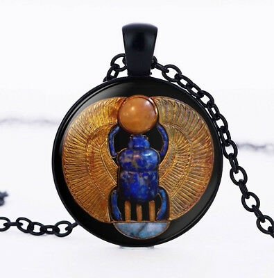 Vintage Egyptian Scarab, Photo Cabochon Glass Black Chain Pendant Necklace