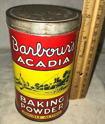 Antique Barbours Acadia Tin Litho Baking Powder Can St Lohn Nb Canada Vintage