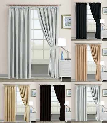 THERMAL BLACKOUT CURTAINS Pencil Pleat Ready Made Pair Insulation FREE Tie backs