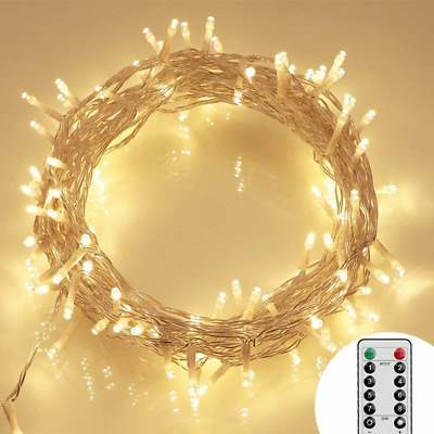 [Remote and Timer] 100 LED Outdoor Battery Fairy Lights (8 Modes, Dimmable,...