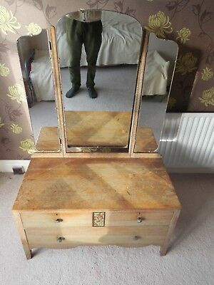 Vintage Art Deco Oak Dressing Table Dovetailed Chest of Drawers 1930s Mirrors
