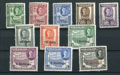 Somaliland KGVI 1951 new currency set of 11 SG125/35 MNH