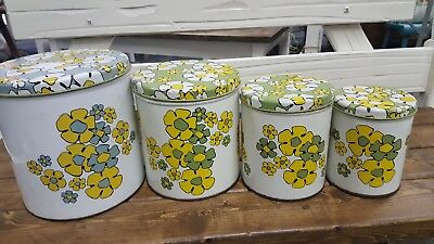 Vintage Avocado Green Floral Ballonoff tins Canister set 4 pc