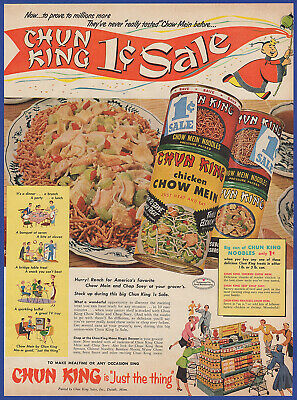 Vintage 1953 CHUN KING Canned Chow Mein Food Kitchen Art Decor Print Ad 50's
