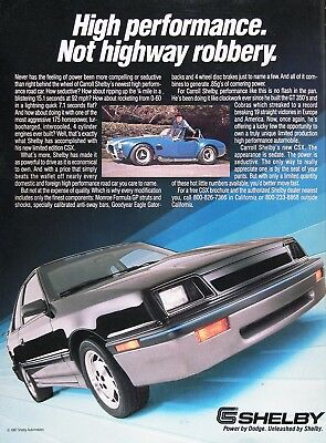 1988 SHELBY CSX Genuine Vintage Advertisement ~ 175hp LIMITED EDITION