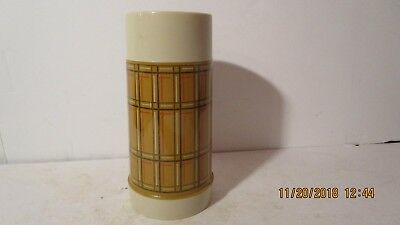 Alladin No 42 , 10 ounce thermos with stopper pre 1963 brown plaid