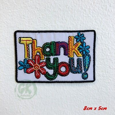 Thank You with Flowers Iron Sew on Embroidered Patch