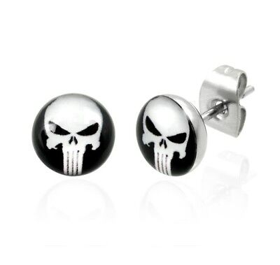 The Punisher Black and White Skull Head Stainless Steel Fashion Stud Earrings