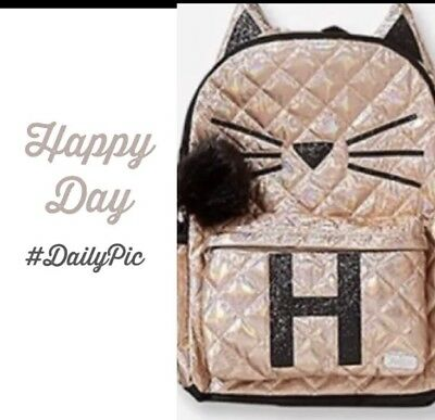 NWT Justice Backpack Gold Cat Quilted Style-Letter H 🐱