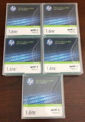 Lot of 5 HP LTO4 Ultrium 4 C7974A Tape Data Cartridge 800GB / 1.6TB