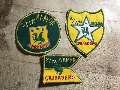 1950s/1960s? 3-US ARMY PATCHES-72nd Armor Regiment-ORIGINAL BEAUTIES! CRUSADERS!