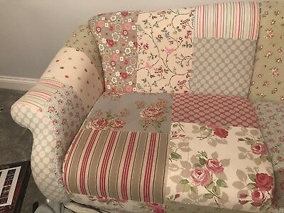 Dfs Doll Fl Patchwork Sofa Suite With Footstool Chair And Corner
