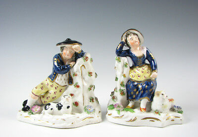 Pair of Antique Staffordshire English Porcelain Figurines Boy Girl Sheep & Dog