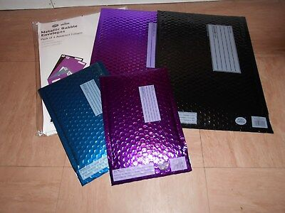 Metallic Bubble Envelopes ~ Pack Of 4 Assorted Colours
