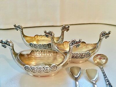 3 NORWEGIAN Sterling silver 925S, Viking ships, Theodor Olsen, with spoons