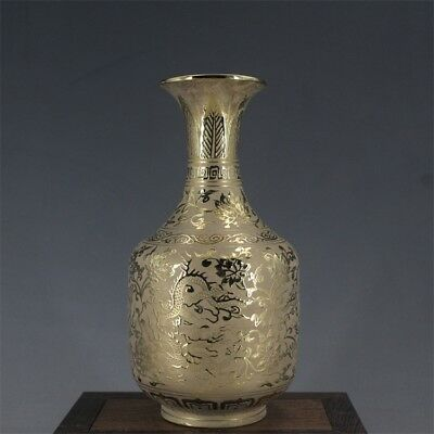 Old China porcelain hand painting MING XUANDE gilt dragon watch SHANG vase