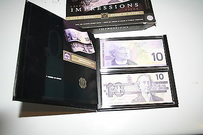 1986-2001 Canadian $10 Bill Lasting Impressions. Matching Set Of Two Notes