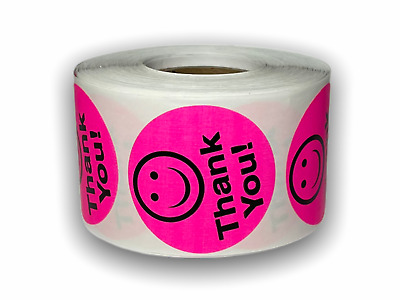 """Labels and More, 1.5"""" Circle THANK YOU Smiley Face / 500 Pink Retail Stickers"""