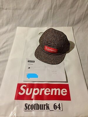 62fb0bd969d Supreme Boucle Houndstooth Camp Cap OS Neon Deadstock FW 17 W  Receipt Box  Logo