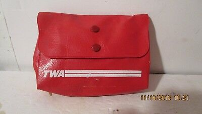 TWA Vintage inflight Complimentary Amenity Toiletry Kit red plastic