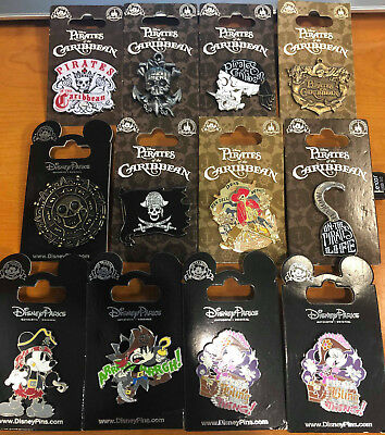 Disney pins on cards Various pins all Authentic Pirates Of The Caribbean Themed
