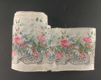 Antique Wide Cotton Floral Ribbon Millinery 8.5 Yards