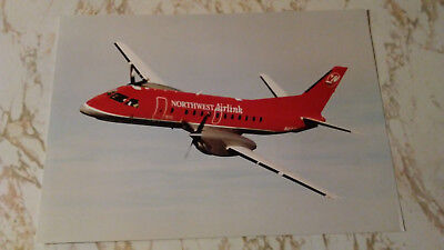 Northwest Airlink (Mesaba) Saab 340B Color Photo 8x11 with specs on reverse